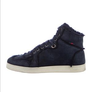 Gucci Suede Shearling High Top Suede Sneakers
